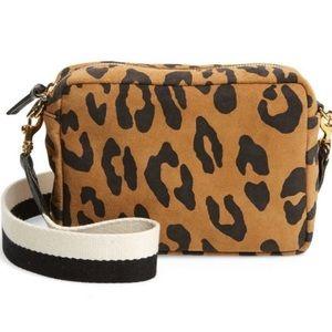 Clare V. Midi Suede Bag Leopard Print